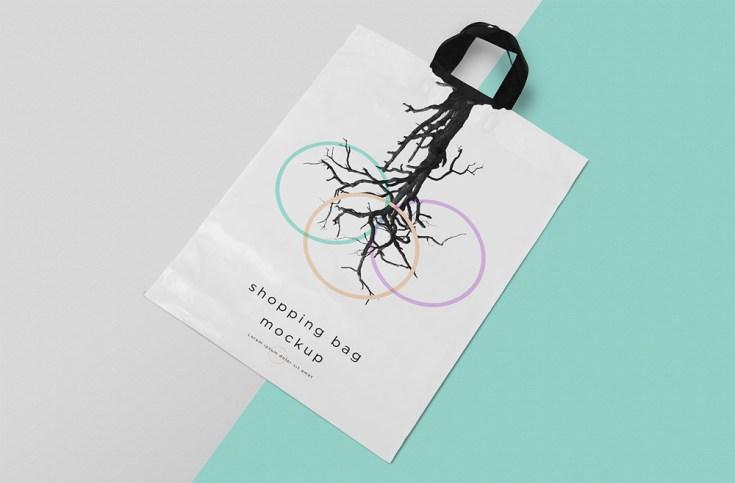 Free Polythene Shopping Bag Mockup PSD