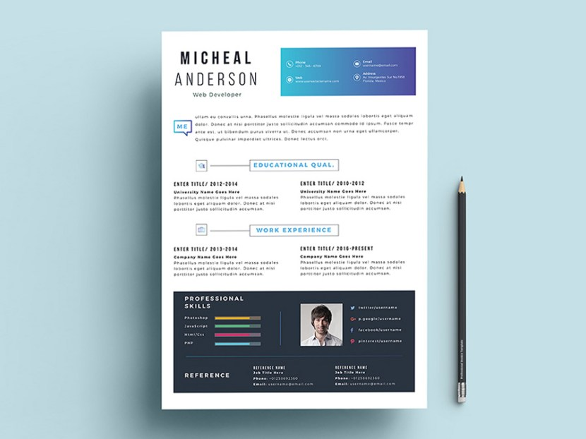 Free Professional Resume Template with Fresh Design