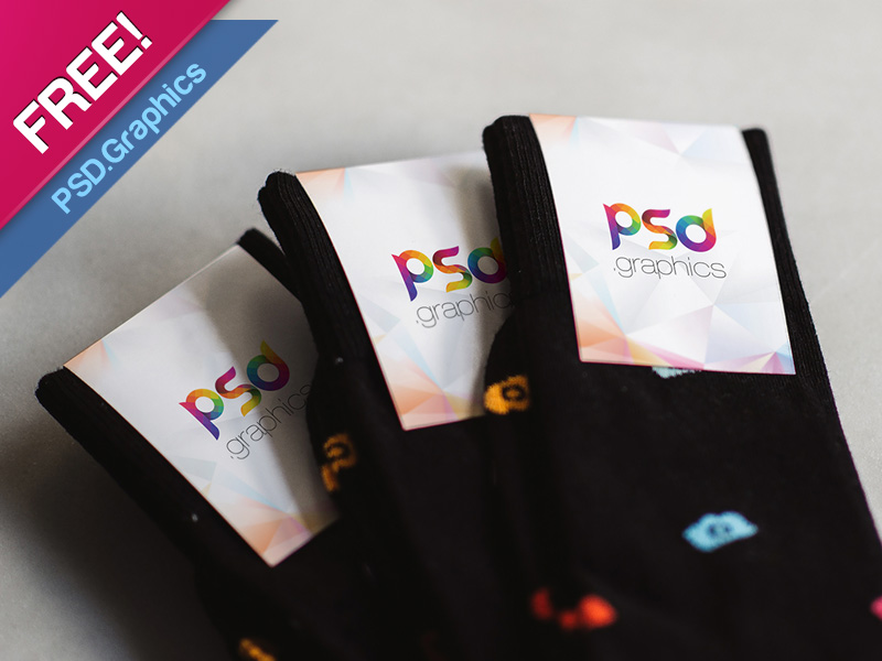 Free Sock Label Mockup PSD