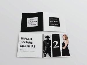 Free Square Bi-fold Brochure Mockup PSD