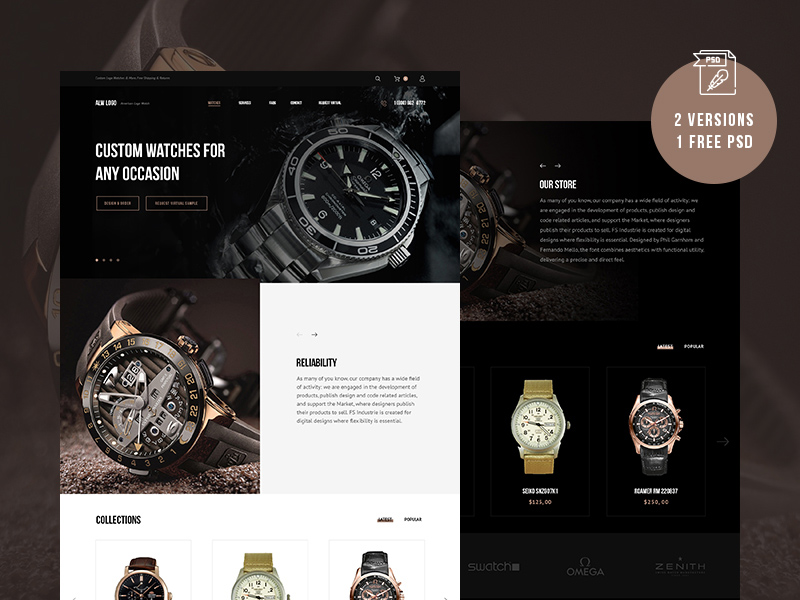 Free Watches Website Template