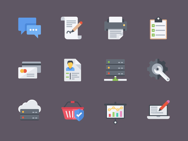Lovely Colorful Flat Icons