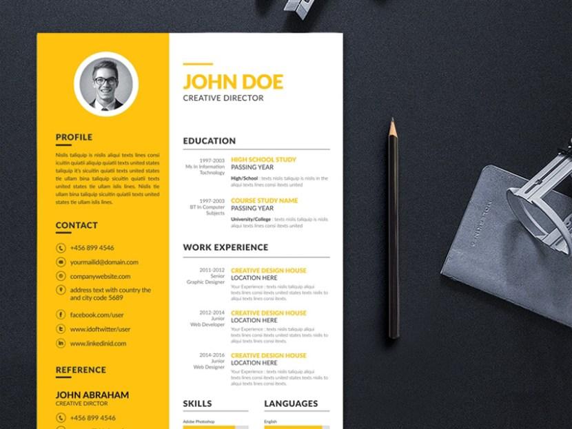 Free Yellow Resume Template