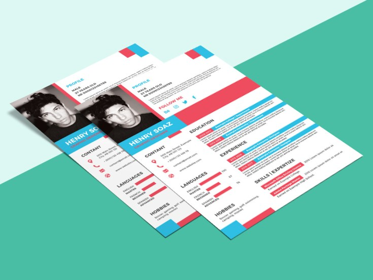 Free Flat Chic Resume Template