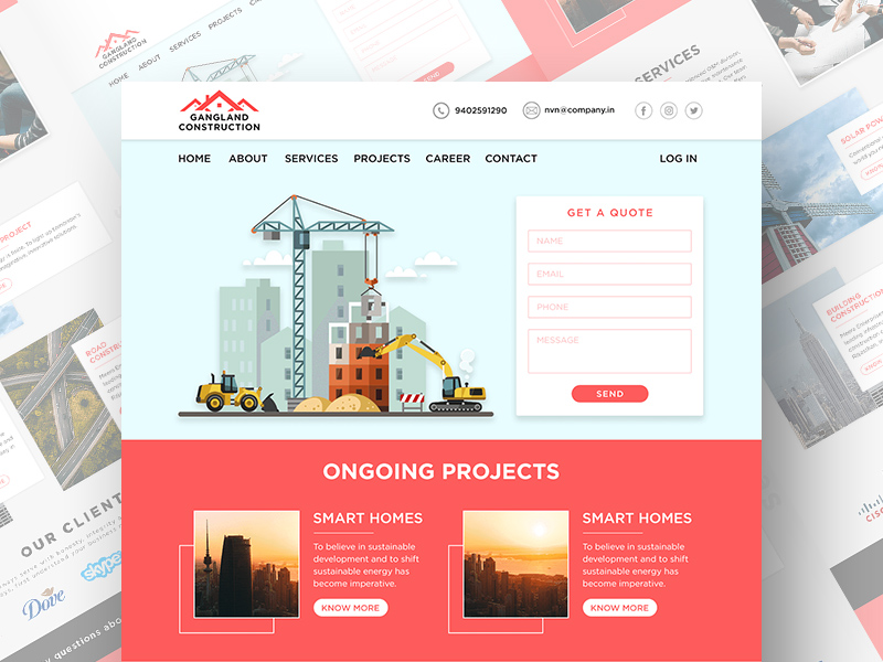Free Construction Website PSD Template