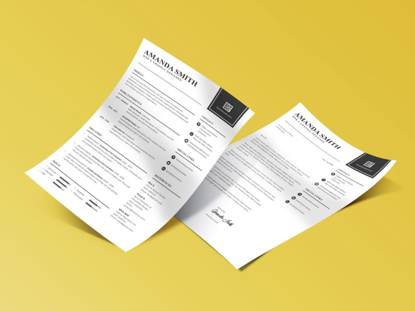 Free Minimalist CV Template with Cover Letter