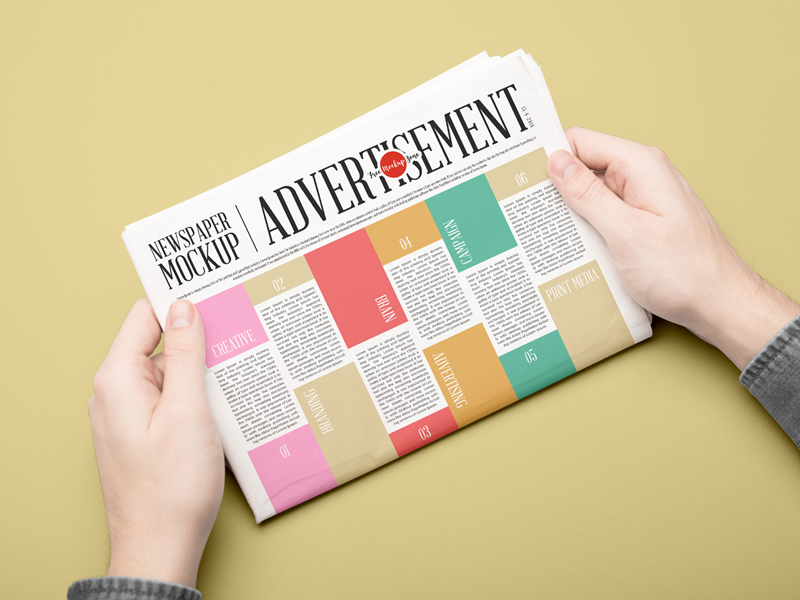 Free Newspaper Advertising Mockup PSD