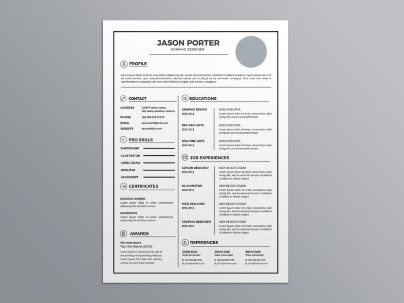 Free Light CV/Resume Template for Job Seeker
