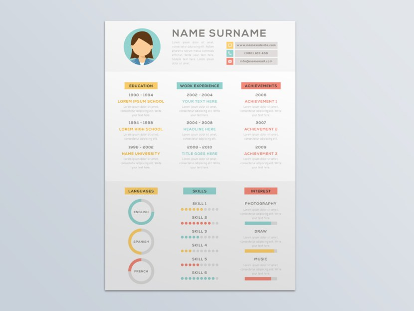 Free Vector Attractive Resume Template