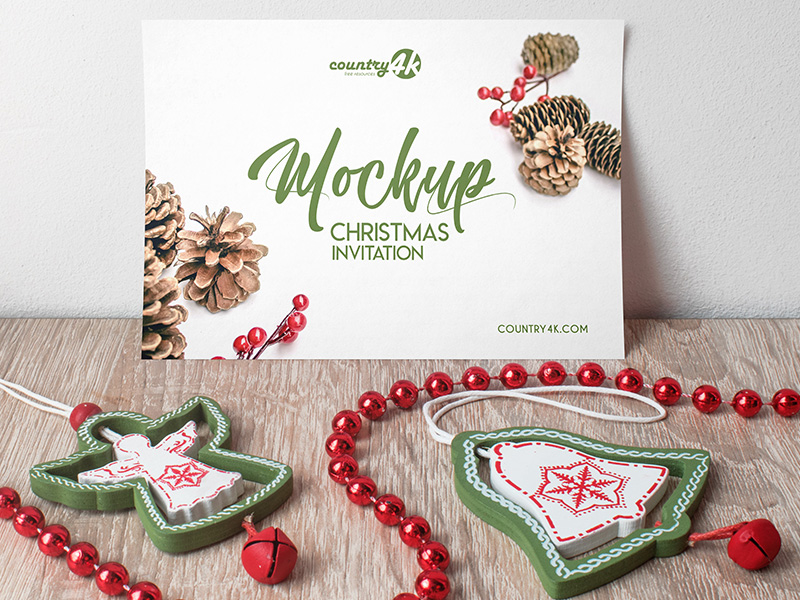 Christmas Invitation PSD MockUp