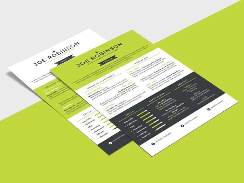 Free Single Page Resume Template