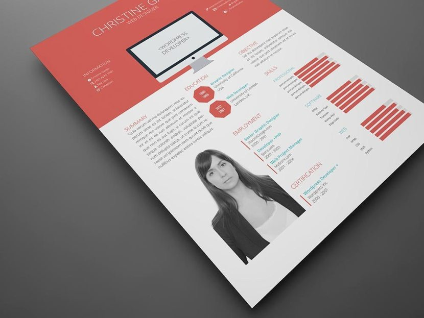 Free Flat Indesign Resume Template