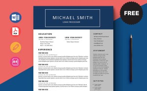 Free Loan Processor CV/Resume Template