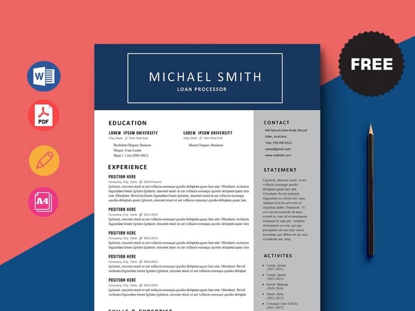 Free Loan Processor CV/Resume Template