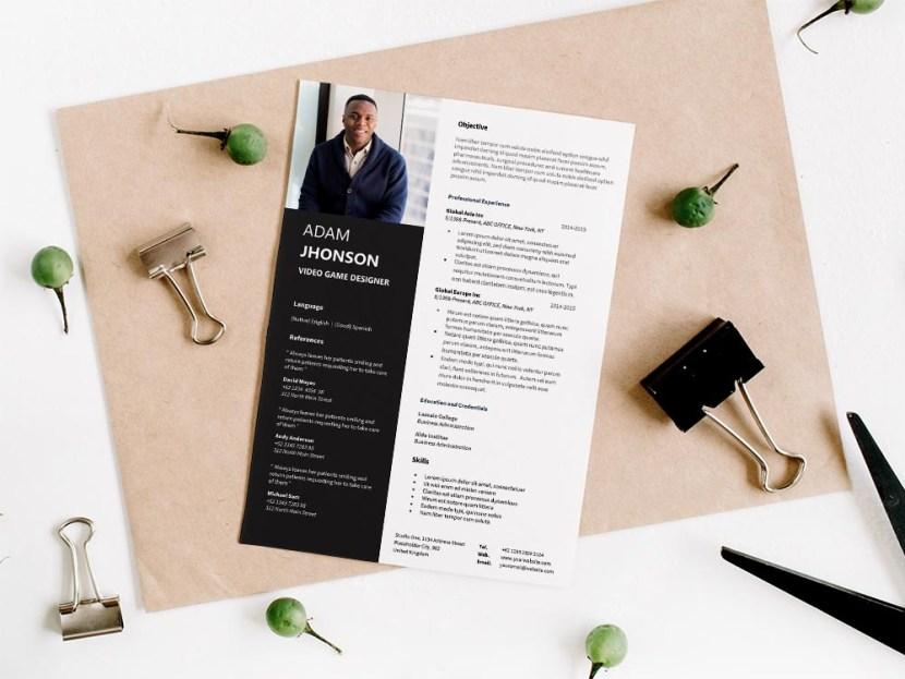 Free Video Game Designer CV/Resume Template