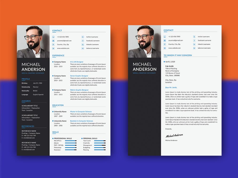 Free Professional Resume Template with Matching Cover Letter