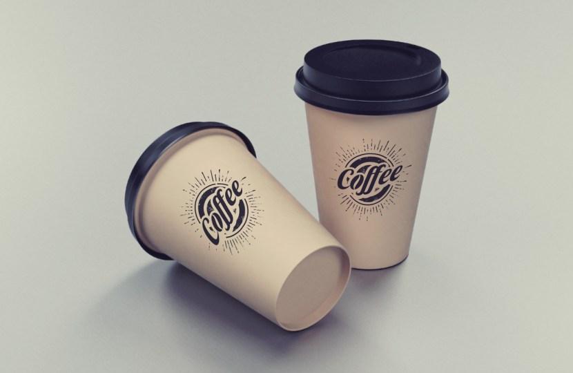 Free Two Coffee Cups Mockup