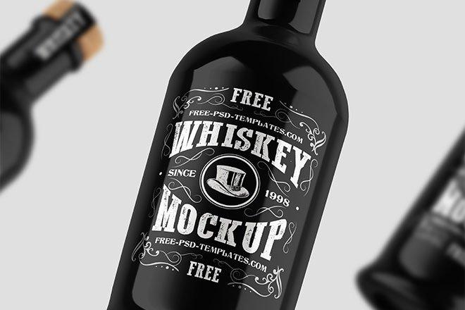 Free Whiskey Bottle Mockup PSD