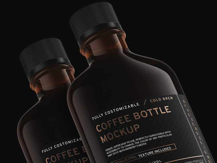 Free Coffee Flask and Bottle Mockup