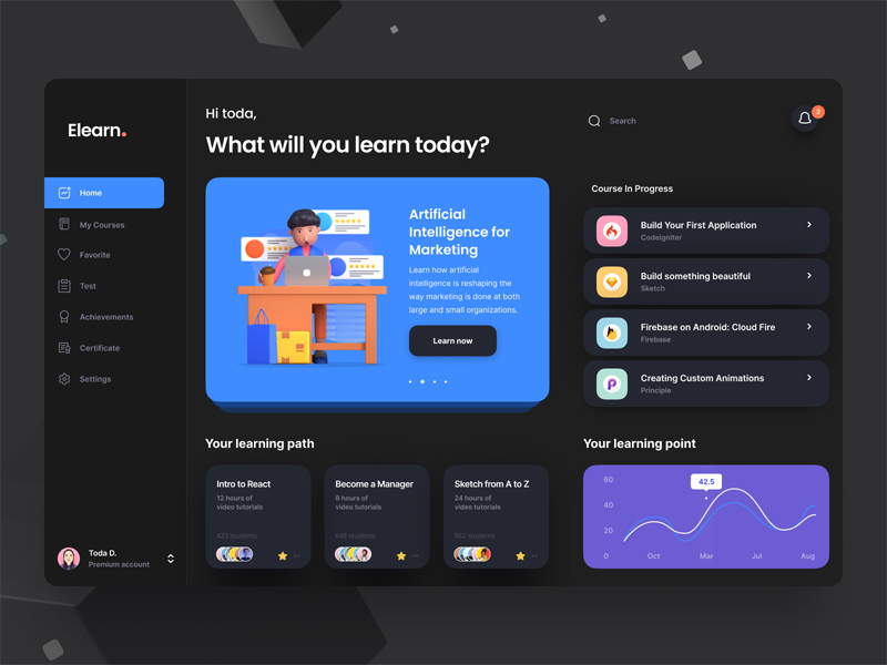 Free E-learning Dashboard UI in Figma