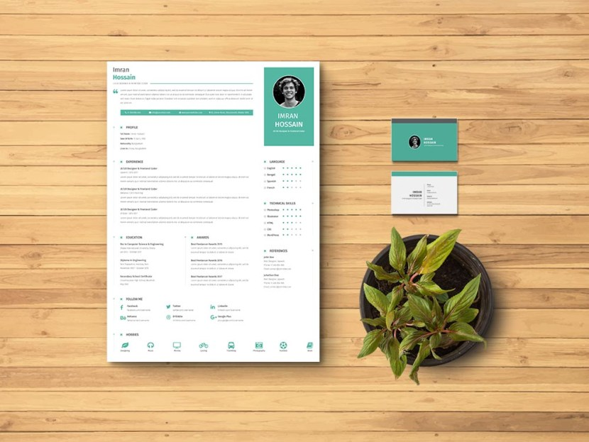 Free Resume CV + Business Card + Cover Letter Template