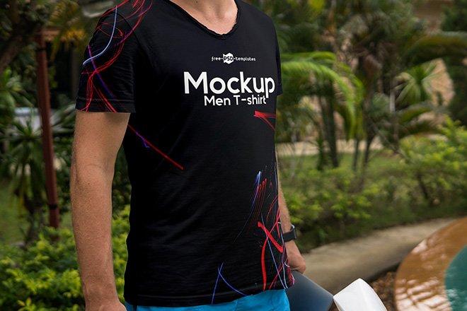 Free Outdoor Men T-shirt Mockup