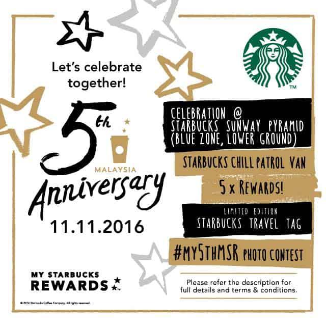 Starbucks Card 5th year Anniversary
