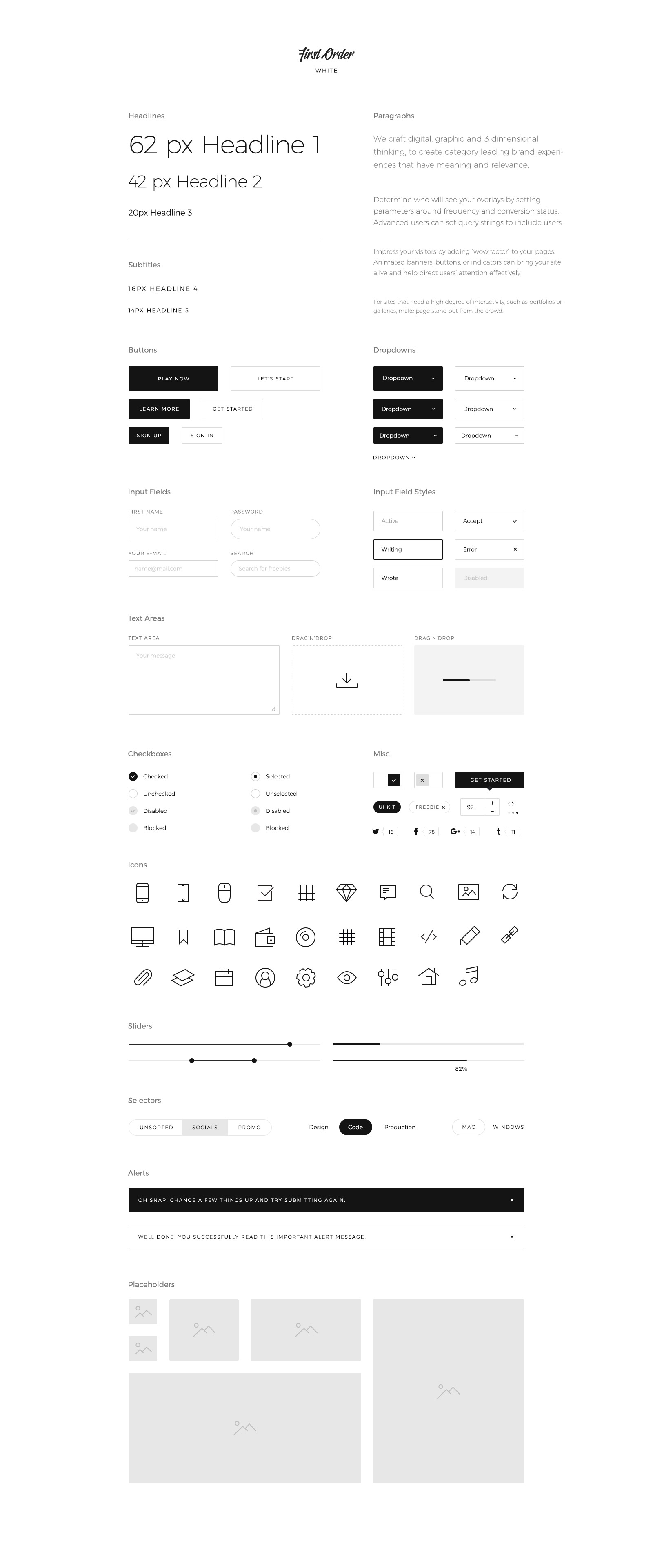First Order Free UI Kit for Sketch, PSD and Figma
