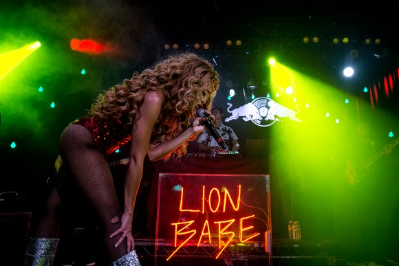 Lion Babe fronted by Jillian Hervey played to a sold out crowd at The Roxy on Day 17 of Red Bull Sound Select's 30 days in LA at iconic Los Angeles music venue The Roxy. Backed by Lion Babe producer Lucas Goodman on turntables and a full band. Tuesday November 17, 2015 West Hollywood, California. (Annie Lesser)