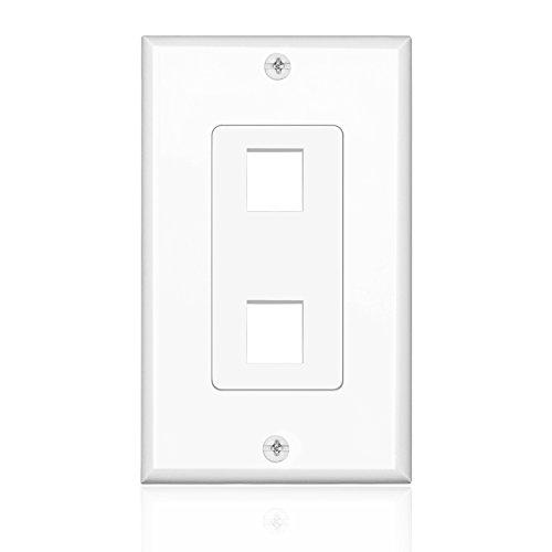 2 Port Keystone Insert Jack Single Gang Wiring Plug Socket