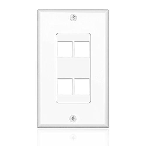 4 Port Keystone Insert Jack Single Gang Wiring Plug Socket