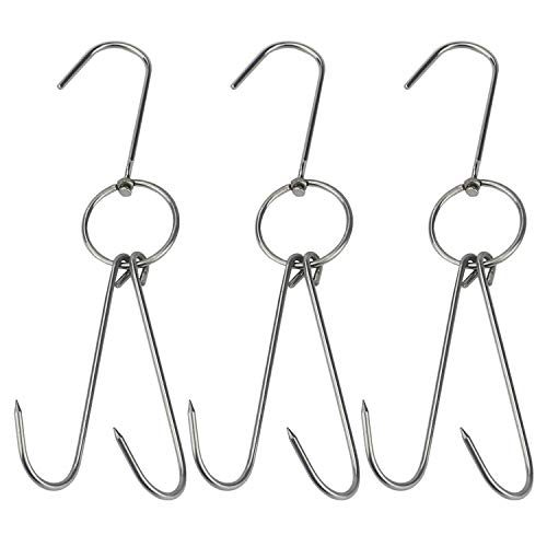 TinaWood 3 PCS Stainless Steel Double Meat Hooks Roast
