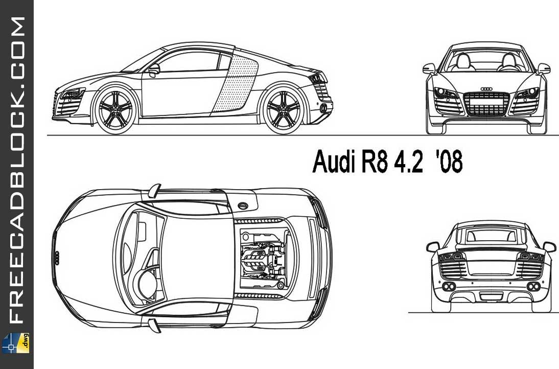 Audi R8 2008 DWG Drawing CAD Format in Autocad 2D.