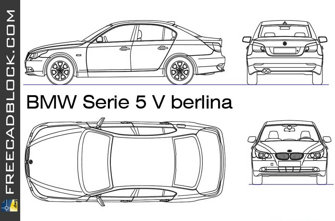 BMW serie 5 berlina DWG Drawing download free in Autocad