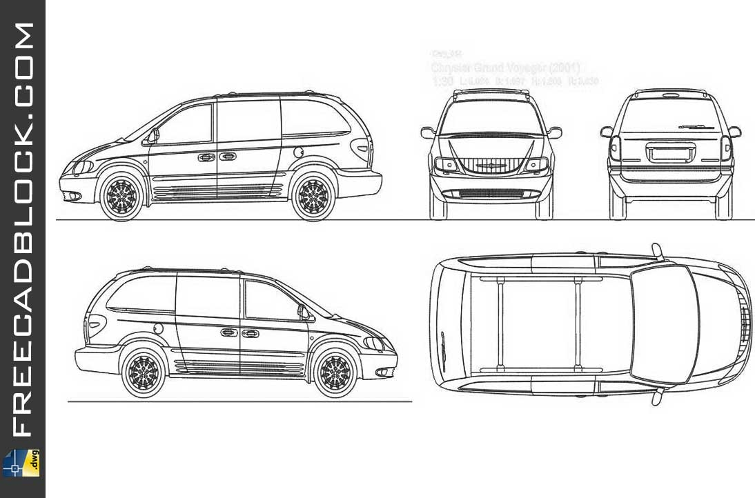 Chrysler Voyager 2001 DWG Drawing for Autocad format 2D