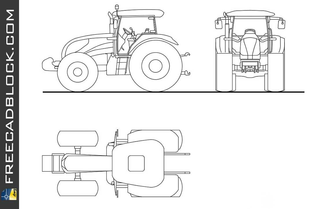 Agricultural Tractor DWG Drawing. Free download in Autocad