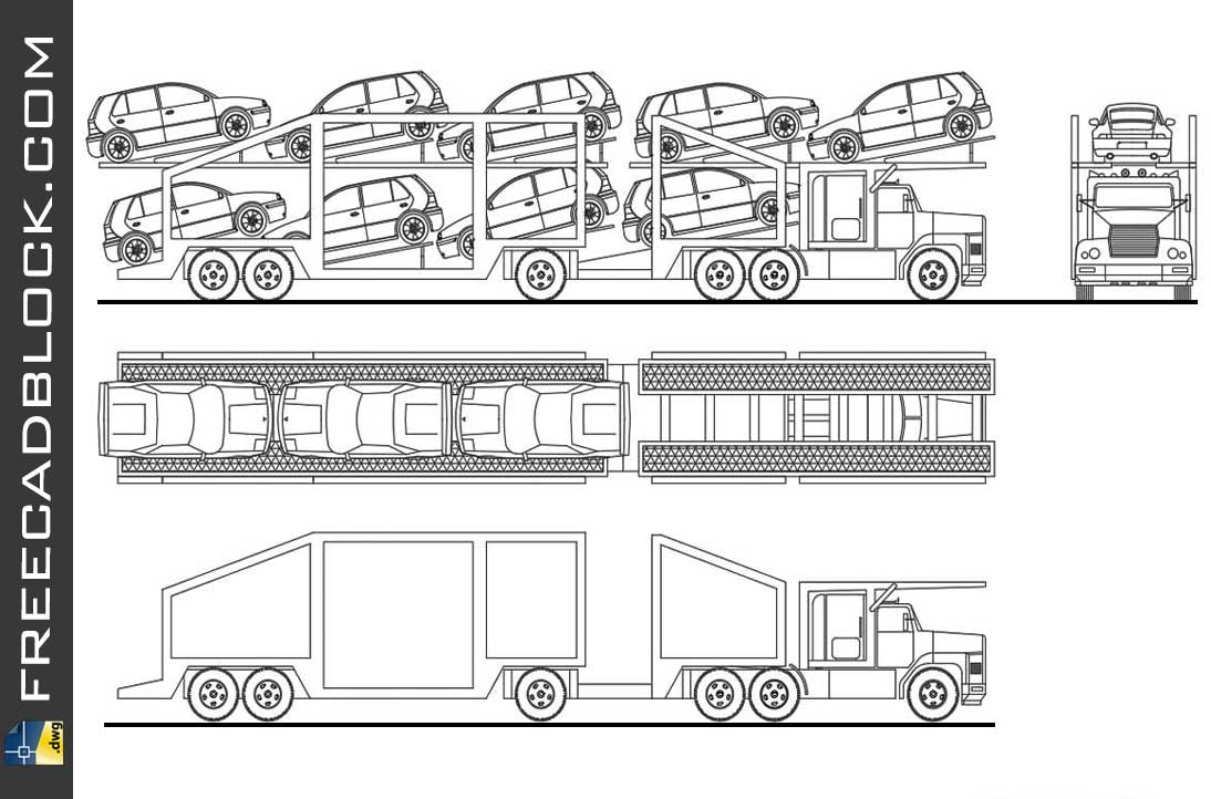Сar truck for Transport DWG Drawing. Free download in