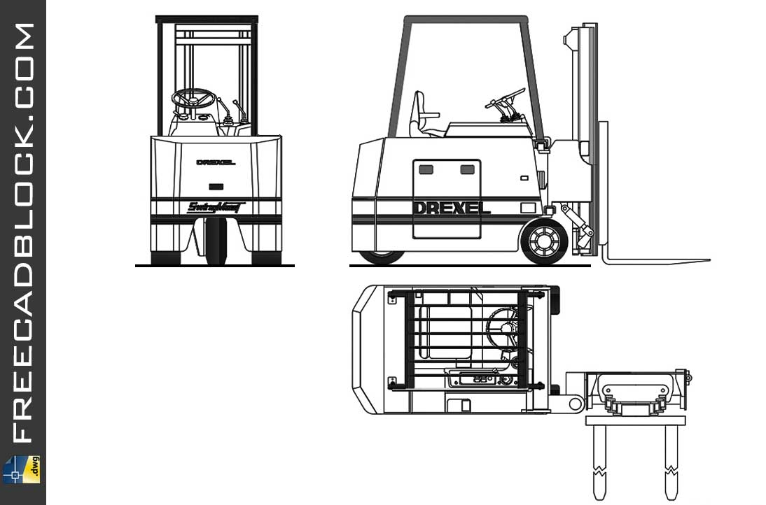 Forklift DWG Drawing. Free download in Autocad platform 2007.