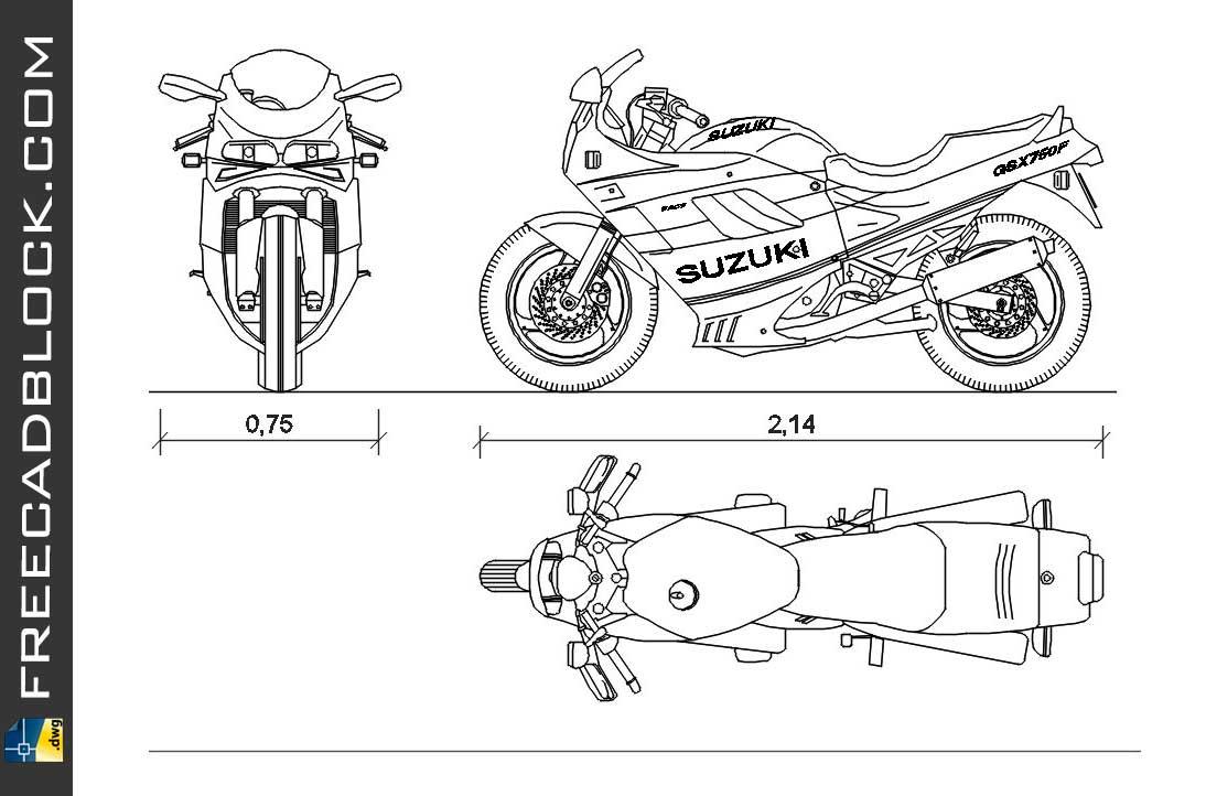 Suzuki GSX 750F DWG Drawing. Free download in Autocad