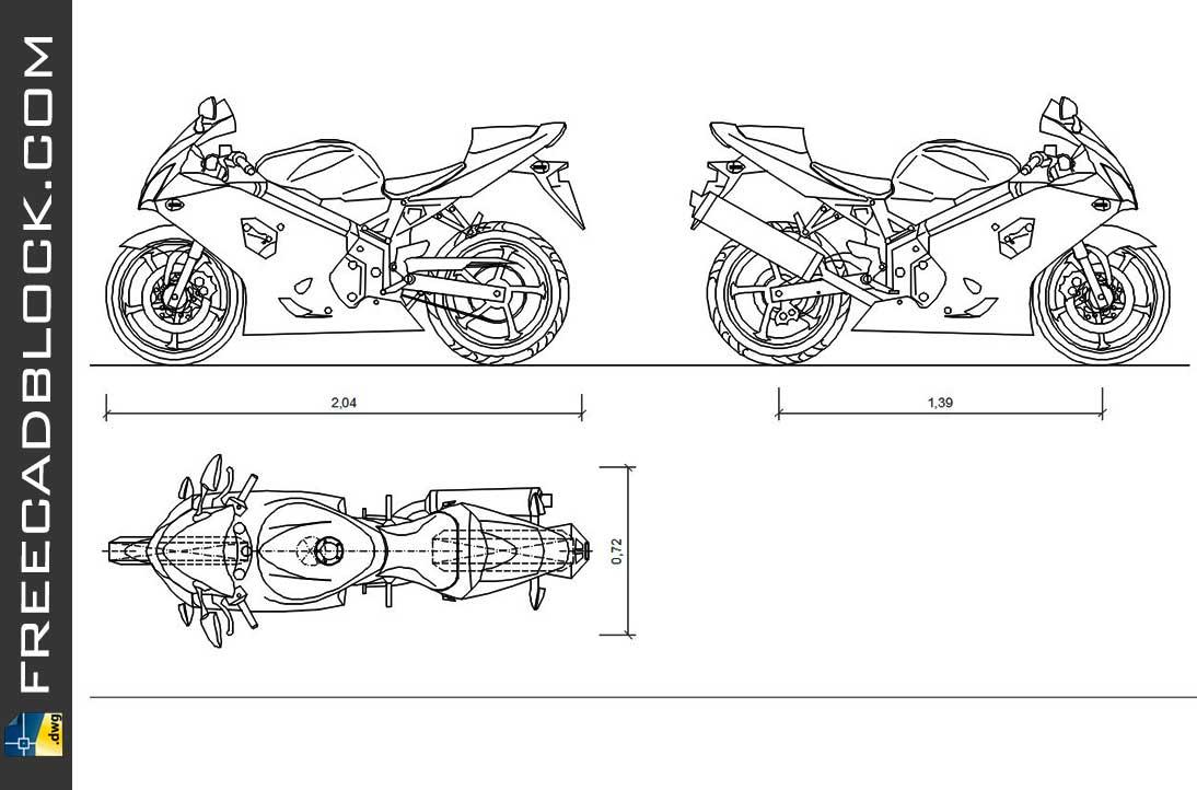 Suzuki GSX-R750 DWG Drawing. Free download in Autocad 2007.