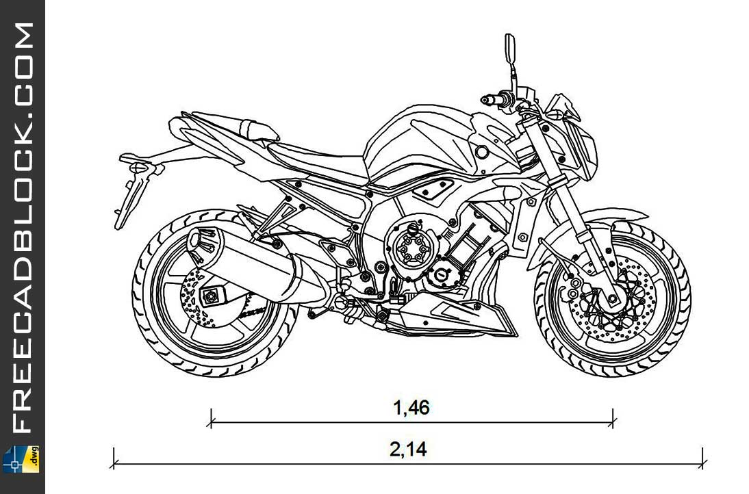 Yamaha 1000-FZ1 DWG Drawing. Free download in Autocad 2007.