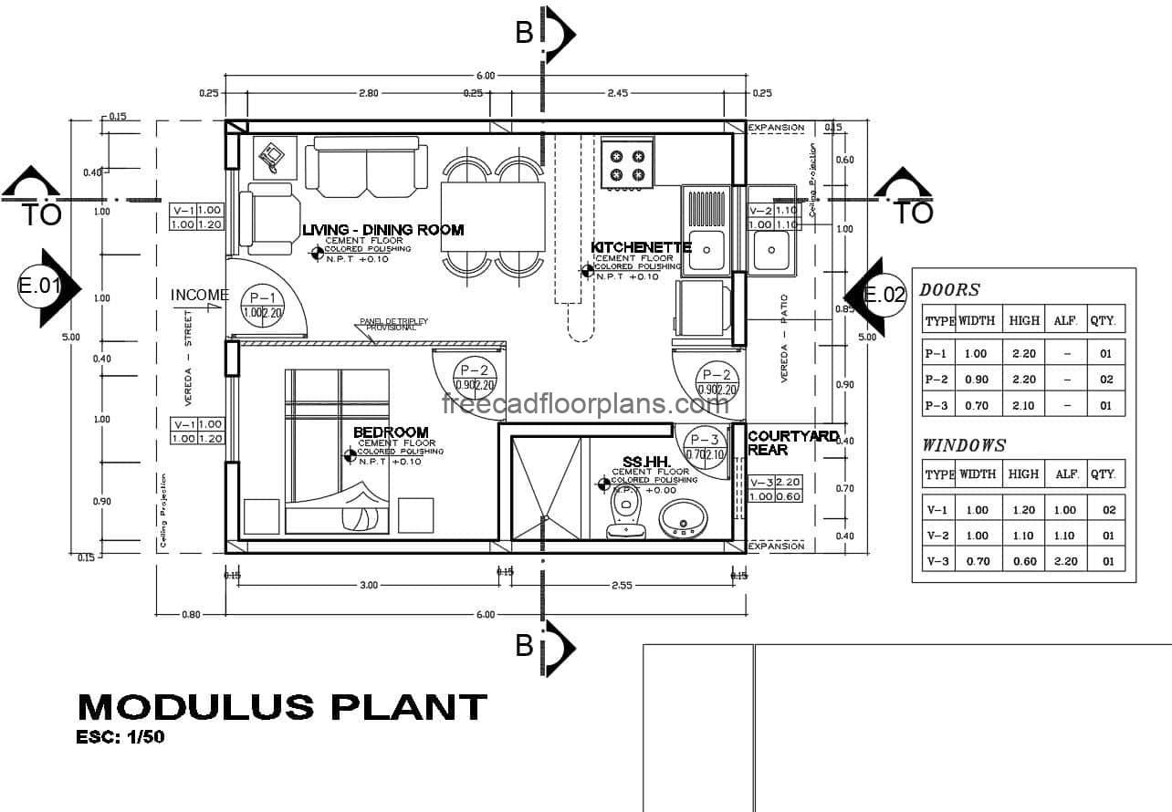 Simple Small House Autocad Plan, 710201