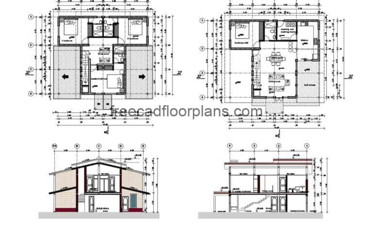 Two-storey Single Country House AutoCAD Plan, 1611201