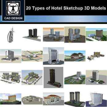 ★【Sketchup 3D Models】20 Types of Hotel Sketchup 3D Models V.1
