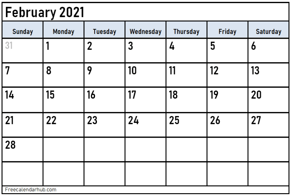 February 2021 Calendar Template Google Sheet