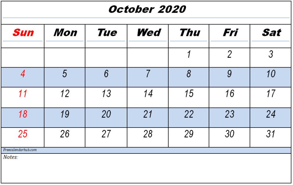 October 2020 Calendar Printable With Holidays Pdf