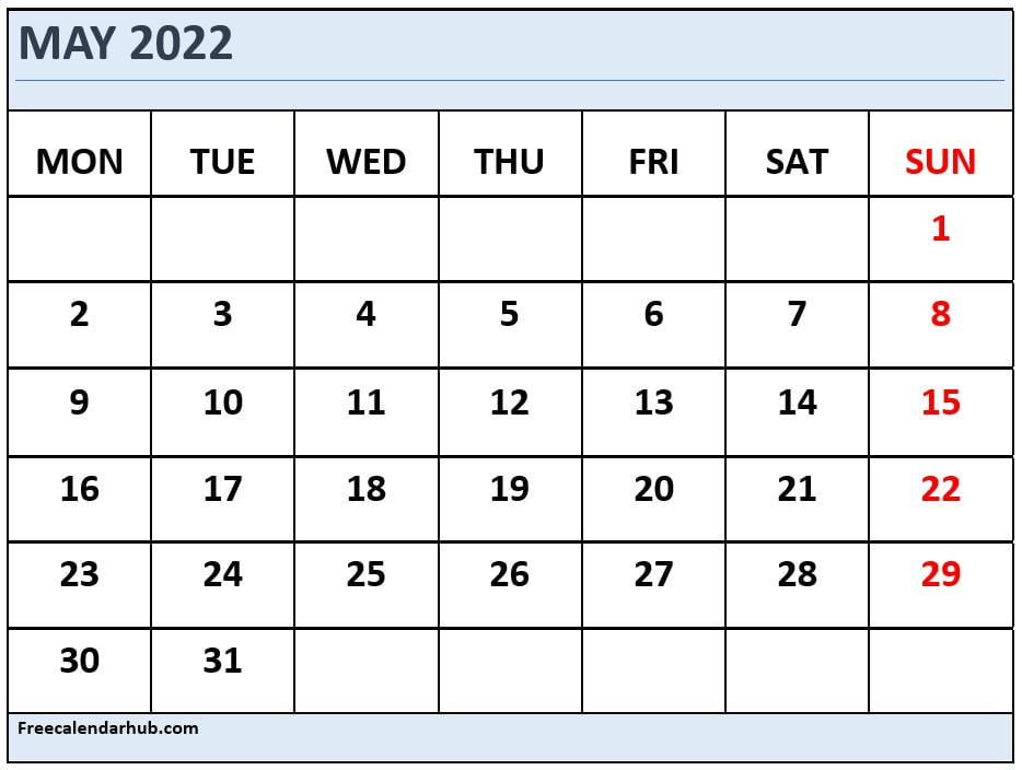 May 2022 Calendar Template Monday Start