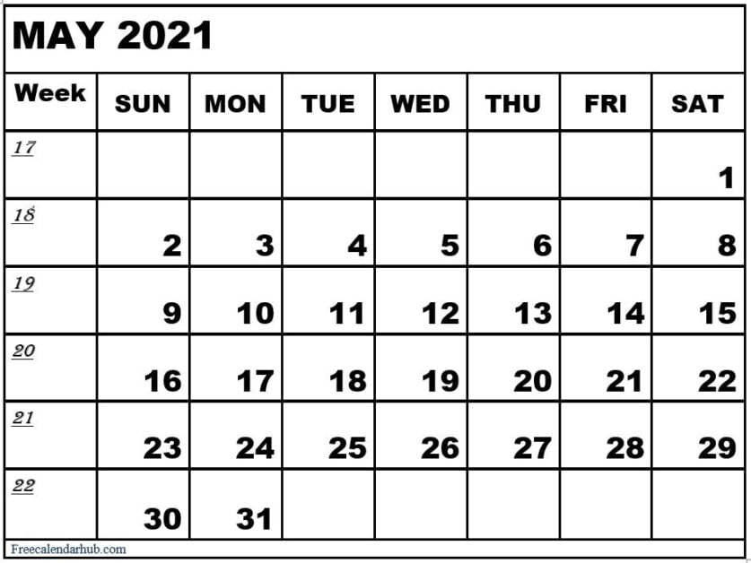 2021 May Calendar Template For Office