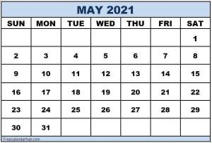 Printable Calendar For May 2021 Month