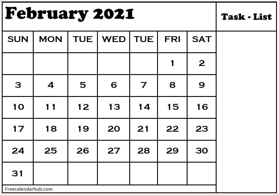 Calendar 2021 February Monthly Template Notes